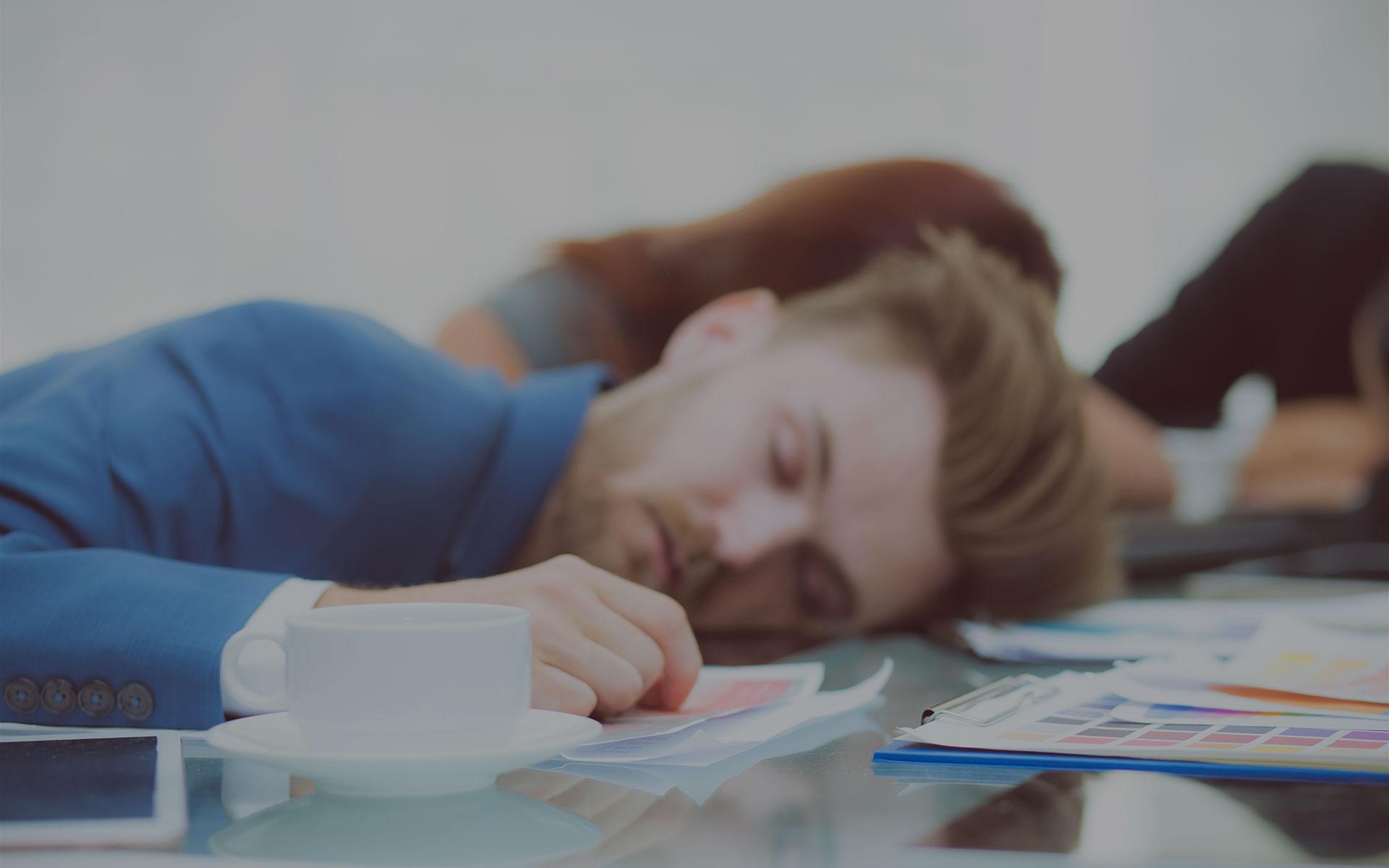 is in slaap gevallen tijdens een presentatie